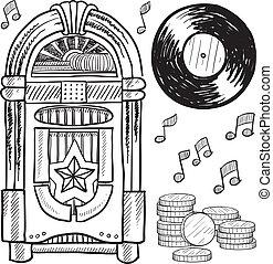 Retro jukebox sketch - Doodle style retro jukebox with vinyl...
