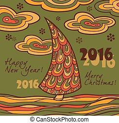 retro, kártya, chris, köszönés, 2016