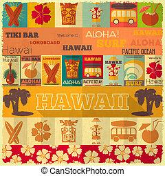 retro, kártya, hawaii