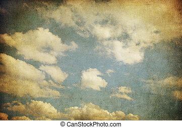 retro, kép, közül, cloudy ég
