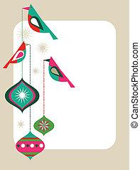 retro, kaart, kerstmis