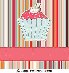 retro, kaart, met, cupcake., eps, 8