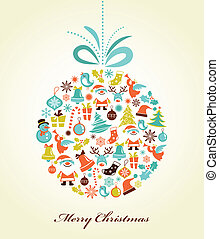 retro, karácsony, háttér, noha, a, karácsony, labda