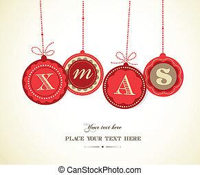retro, karácsony, herék, noha, szöveg, hely