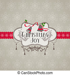 retro, karácsonyi üdvözlőlap, -, helyett, meghívás, gratuláció, alatt, vektor