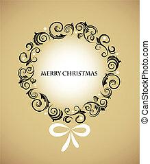 retro, karácsonyi díszek, koszorú, szüret