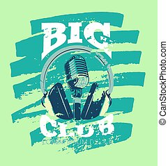 Retro karaoke music club, audio record studio vector logo with microphone and headphones