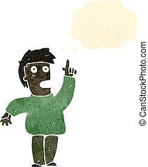 retro, karikatúra, gondolat bábu