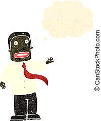 retro, karikatur, verwirrt, buero, mann