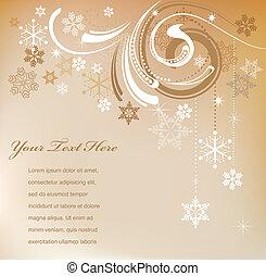 retro, karte, weihnachten