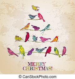 retro, kartka na boże narodzenie, -, ptaszki, na, choinka,...