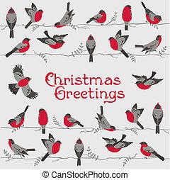 retro, kartka na boże narodzenie, -, zima, ptaszki, -, dla, zaproszenie, gratulacje, w, wektor