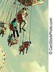 retro, karusel