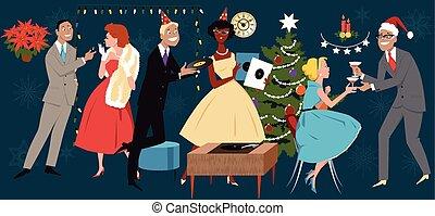 retro, kerst partij
