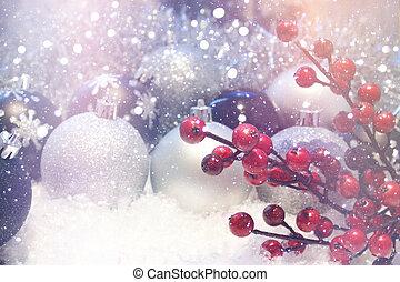 retro, kerstmis, effect, achtergrond, besneeuwd