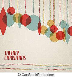 retro, kerstmis kaart, met, kerst decoraties