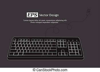 Retro Keyboard Vector Template