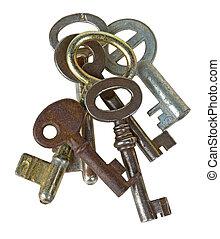 Retro keys - Heap of retro keys isolated on white