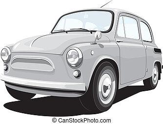 retro, kicsi autó