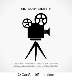 retro, kino, ikona