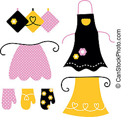 Stylized vintage apron collection. Vector