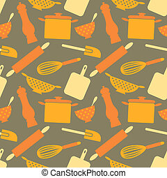 Retro Kitchen Background - Seamless repetitive pattern with...