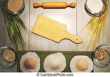 Retro kitchen bakery background with empty chopping board for copy space. Top view