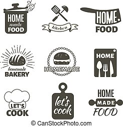 Retro kitchen cooking at home and handmade vector badges and logos
