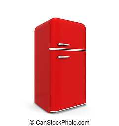 Retro kitchen fridge. 3d illustration isolated on white...