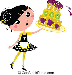 Retro kitchen Girl with big fruity Cake isolated on white -...