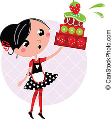 Retro kitchen Girl with big fruity Cake isolated on white -...