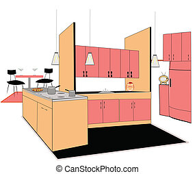 retro kitchen interio
