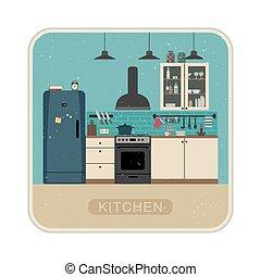 Retro kitchen interior .