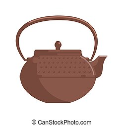 Retro kitchen kettle isolated on white background