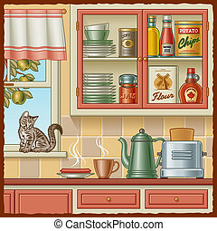 Retro kitchen with various foods and a kitten on the ...