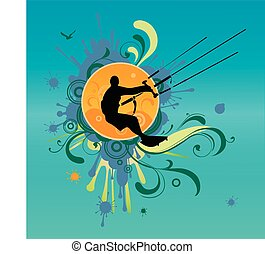 Retro kite surf vector illustration - Retro kite surf vector...