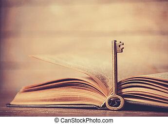 retro, klee, en, geopend, boek