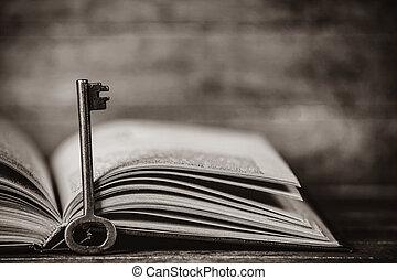 retro, klee, en, opengeslagen boek