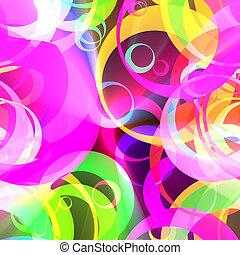 retro, kleur, cirkelpatroon, gloeiend