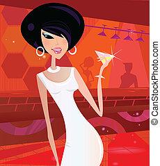 retro, klub, kobieta, noc, sexy
