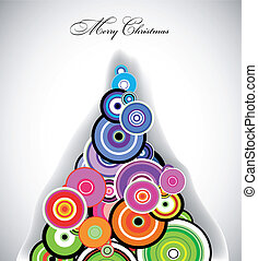 retro, koło, barwny, boże narodzenie, drzewo., wektor