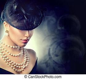 retro, kobieta, portrait., rocznik wina, styl, dziewczyna, chodząc, stary kształtowany, kapelusz