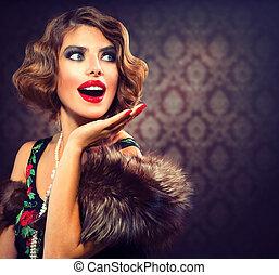 retro, kobieta, portrait., zdziwiony, lady., rocznik wina, tytułowany, fotografia