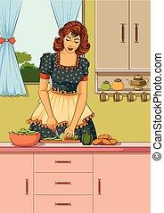 retro, kobieta, w, kuchnia