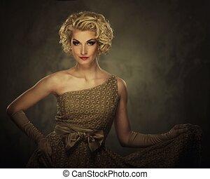 retro, kobieta w stroju