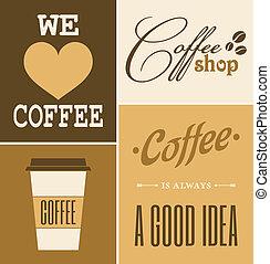 retro, koffie, verzameling