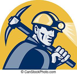 retro, kol, yxa, träsnitt, hacka, gruvarbetare
