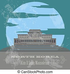 retro, korea, północ, landmarks., tytułowany