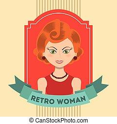 retro, kvinna