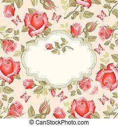 retro, kwiat, card-, róże